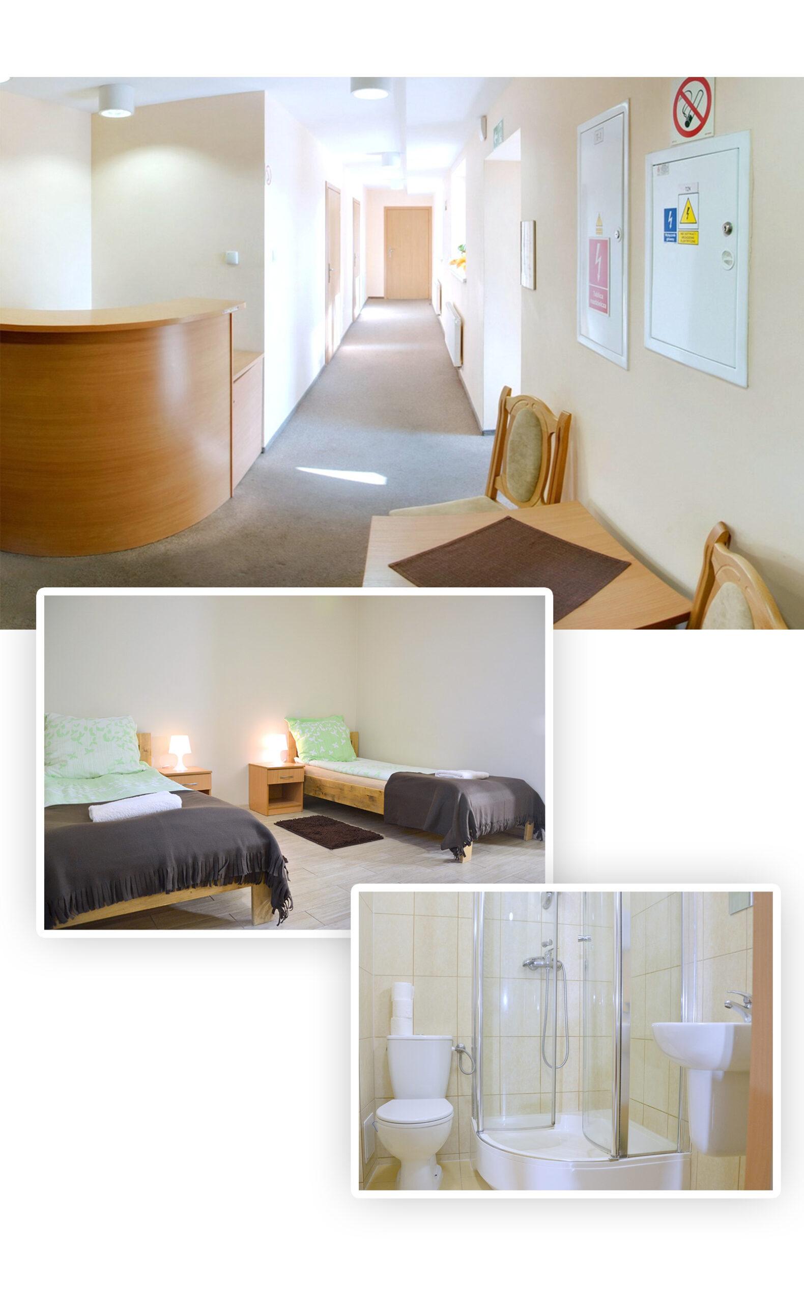 Hol w hostelu, pokój oraz łazienka