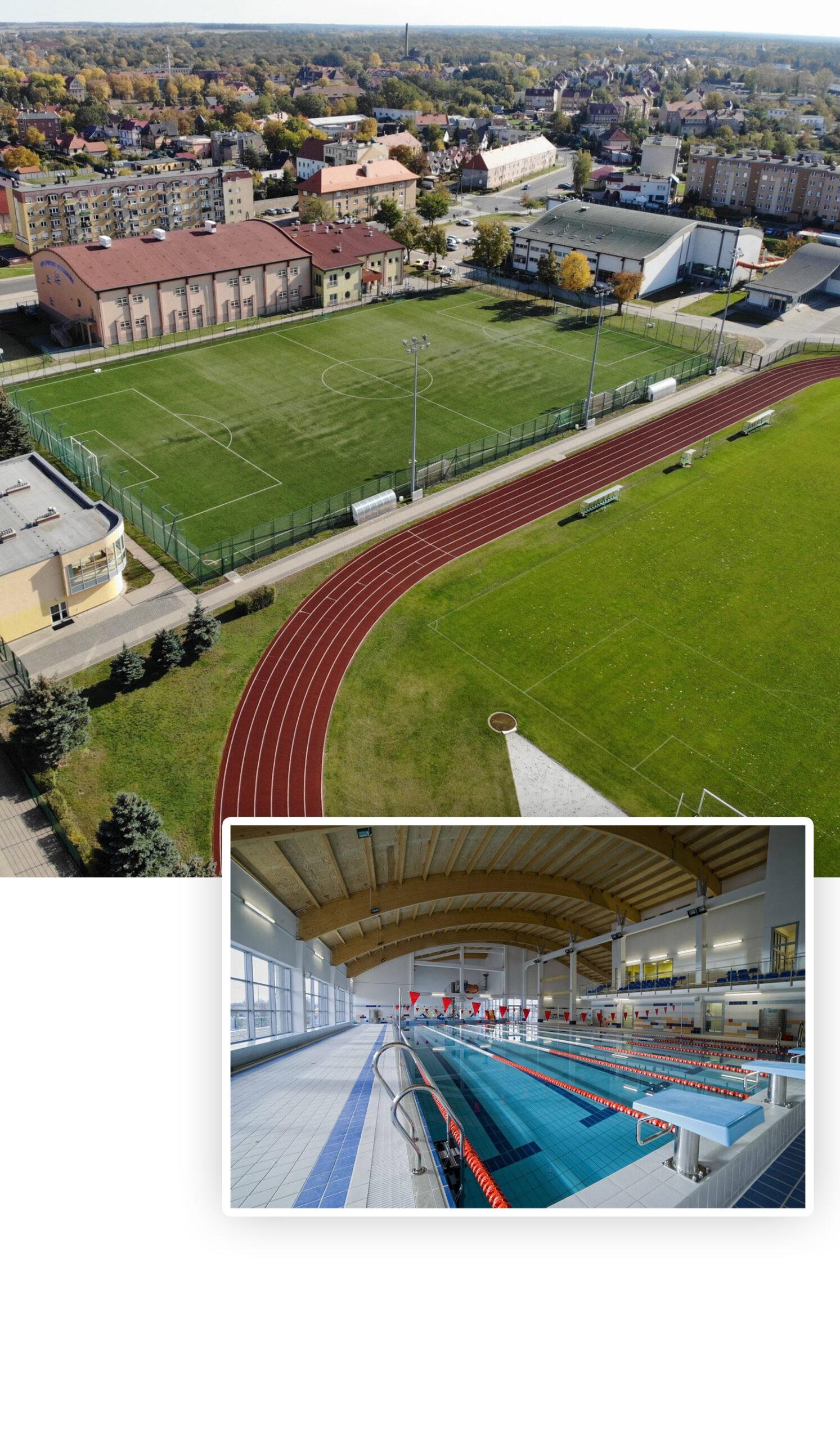 Zewnętrzne boiska piłkarskie oraz basen sportowy